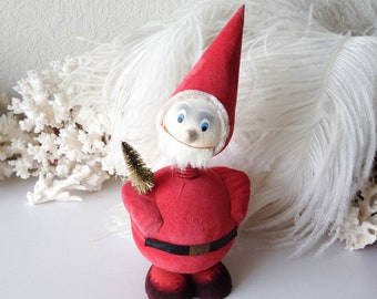 Vintage bobble head Santa candy container German red flocked elf pixie paper mache box figurine Christmas ornament decoration