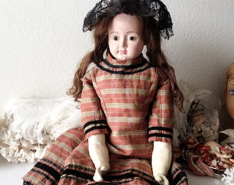 Antique doll paper mache large old doll boots and glass eyes