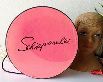 e9113218211 Vintage Schiaparelli hat box pink round storage millinery box vanity shabby  display prop