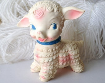 Vintage squeaky toy lamb Edward Mobley Arrow Rubber cute 50s retro pink ear blue collar baby squeak squeaker toy sheep