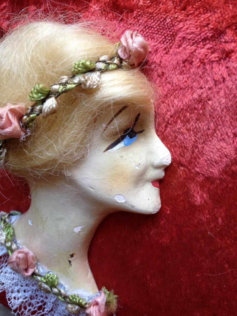 Vintage mini flapper doll head chalkware profile boudoir bust decoration art deco miniature plaster face plaque ornament applique