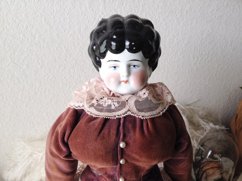 265ee5ba3c1 Vintage china doll antique porcelain head stuffed reproduction