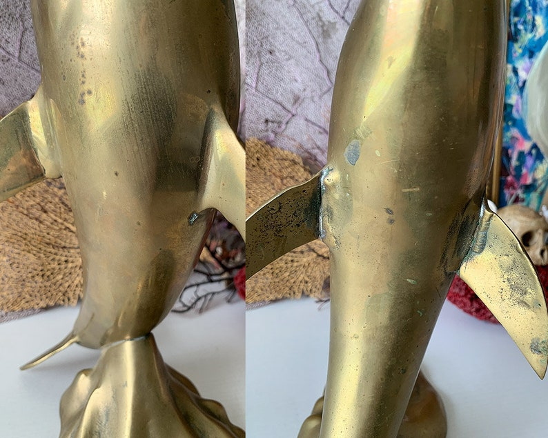 Vintage large brass dolphin statue modern dolphin with ball in mouth fun beach cottage decor big fish sphere sculpture 16.5 inch
