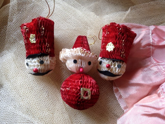 Japanese Christmas Tree Ornaments.Vintage Tissue Ornaments Honeycomb Japan Christmas Decorations Set Drummer Boy Santa Snowman