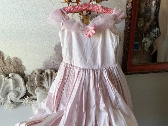 Vintage satin dress pale lavender pink girl teen p