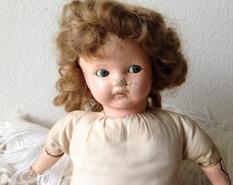 Vintage creepy doll old composition cryer squeaker baby doll shifty sleep eyes worn shabby display prop