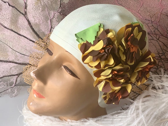 Vintage swim cap retro rubber Diving Belle white b