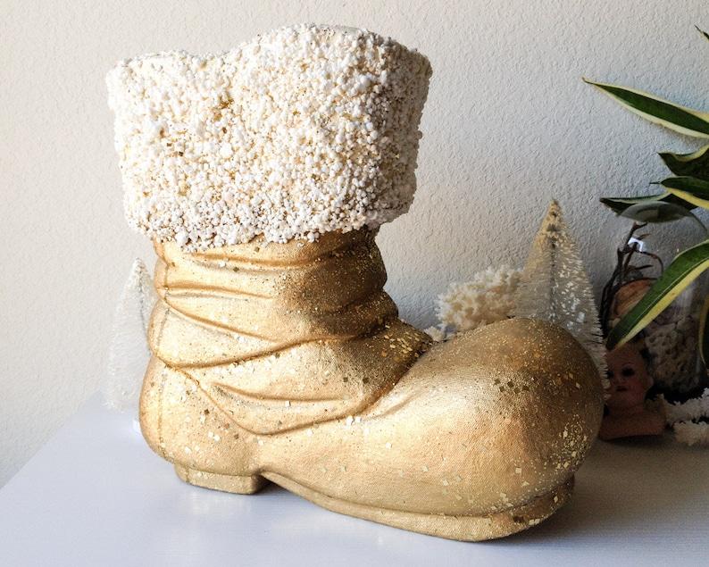 Vintage Large Santa Boot Gold Paper Mache Christmas Decoration Oversized Glitter Shoe