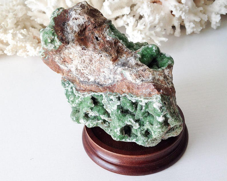 Natural stone crystal mineral Austinite green geode rock specimen wood base  stand