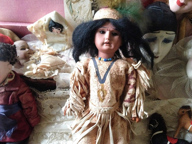 0fc0b2b5621 Antique German doll Armand Marseille scowling bisque porcelain Native  American I... Antique German doll Armand Marseille scowling bisque  porcelain Native ...