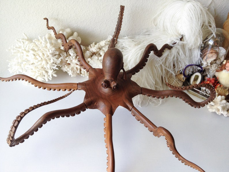 Vintage Wood Octopus Wall Hanging Carved Wooden Squid Sculpture Creepy Sea Creature Ocean Sea Life Statue Wall Art As Is