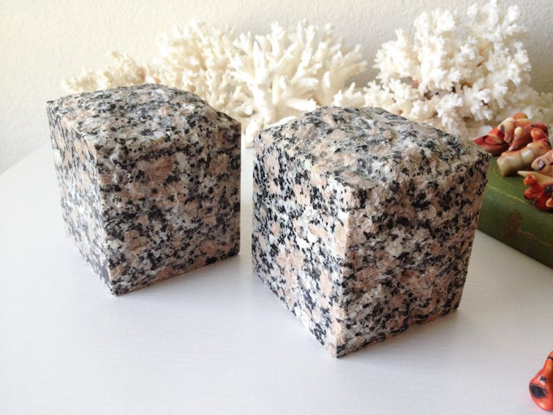 Vintage pair granite bookends natural stone block book ends set modern  polished cube sculpture statues boho office bookcase decor