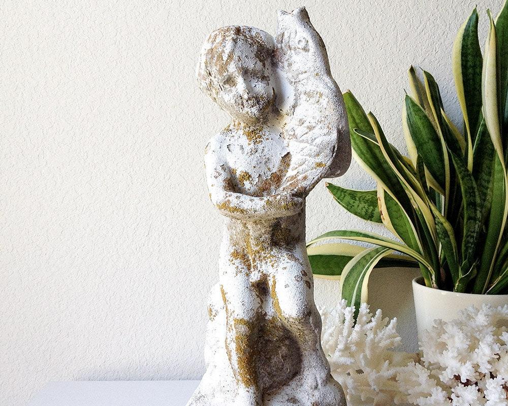 Old Garden Statue: Vintage Concrete Garden Putti Statue Cherub Baby Holding