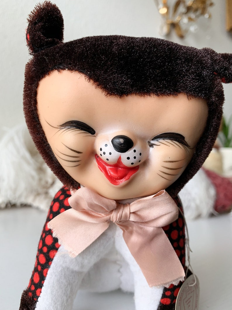 Vintage mini stuffed kitten small rubber face cat retro Japan polka dots and velvet sleepy smiling miniature cat plush