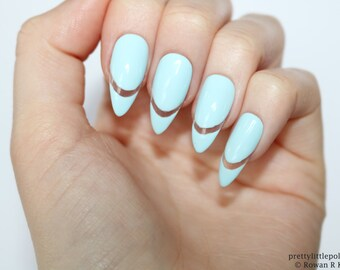 Pastel Blue Cut Out Stiletto Nails Almond Acrylic Pointy Fake