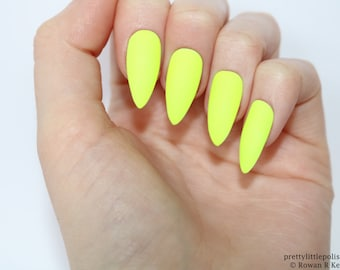 Neon Yellow Nails Etsy