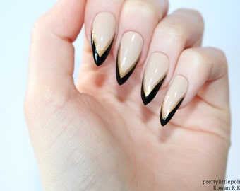 Nude Stiletto Nails Red Gold Tip Nude Stiletto Nails Nude Etsy