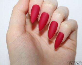 Stiletto Nails Matte Red Berry Fake Press On False