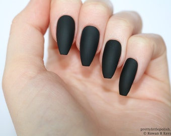 Black Coffin Nails Etsy