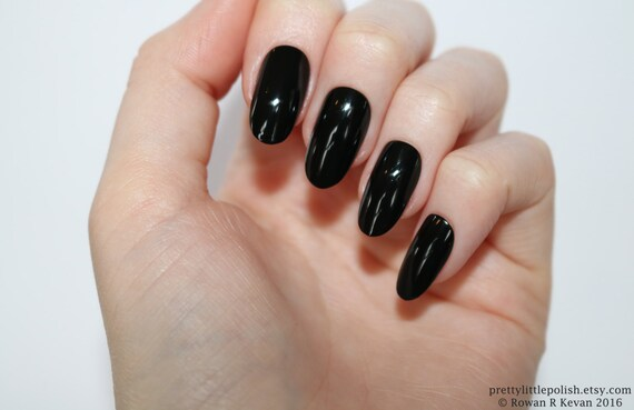 Black Oval Nails Nail Designs Nail Art Nails Stiletto Etsy