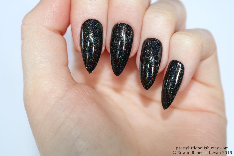 Holographic stiletto nails black Holographic nails Fake   Etsy