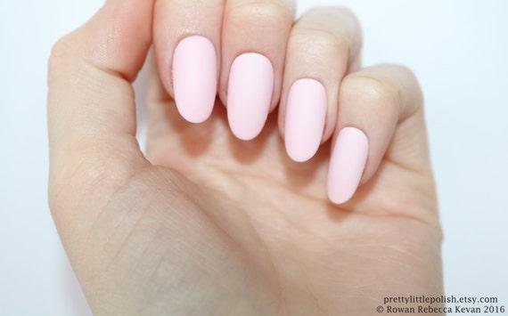 Matte Pastel Pink Oval Nails Nail Designs Nail Art Nails Etsy