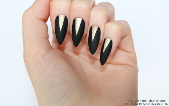 Matte Black Gold Stiletto Nails Nail Designs Nail Art Etsy
