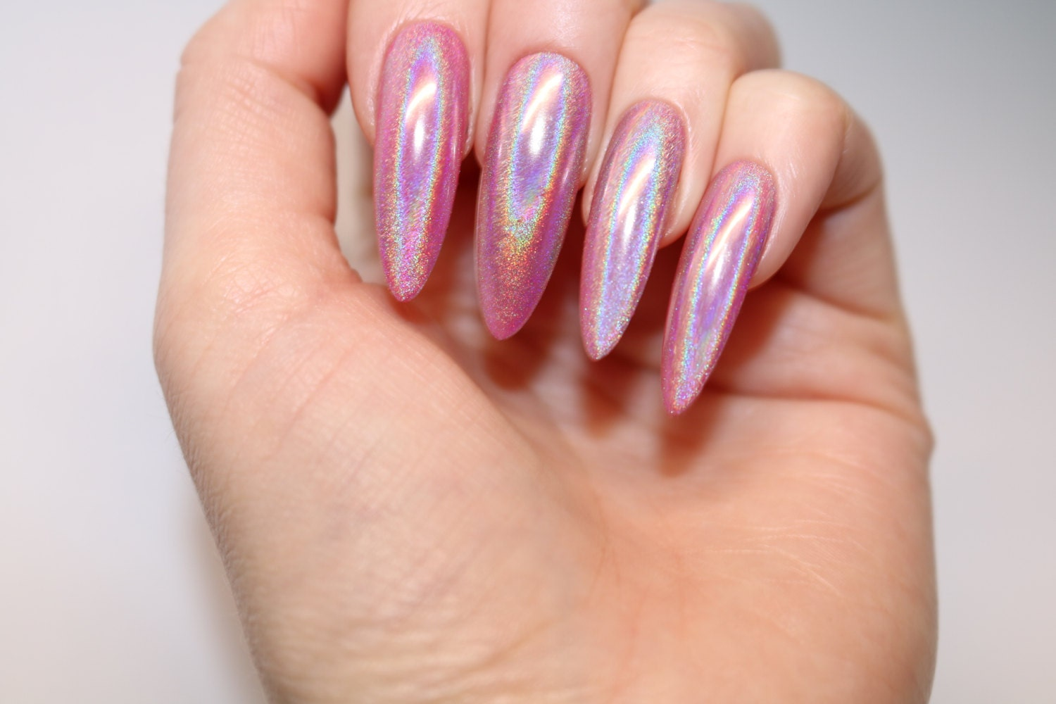 Unicorn chrome long stiletto nails, 20 full set of nails, Stiletto ...