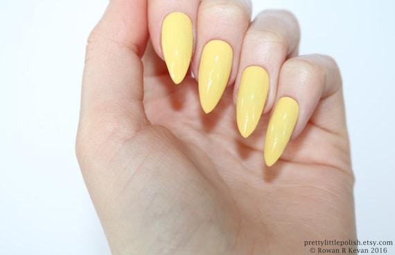 Stiletto Nails Pastel Yellow Fake