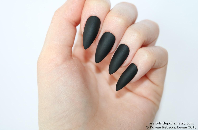 Matte black stiletto nails Halloween nails Fake nail   Etsy