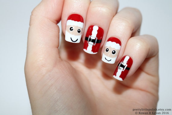Santa nails Christmas nails Stiletto nails Fake nail   Etsy