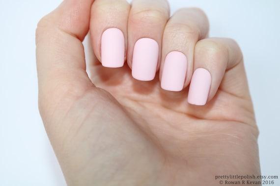 Matte Pastel Pink Short Square Nails Nail Designs Nail Art Etsy