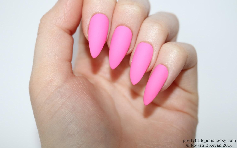 Stiletto nails Matte neon pink stiletto nails Fake nails | Etsy