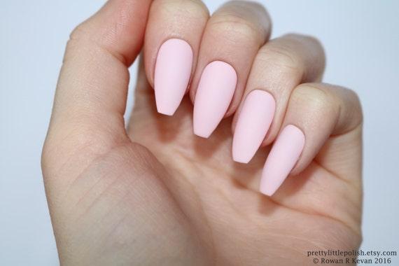 Matte Pastel Pink Coffin Nails Nail Designs Nail Art Nails Etsy