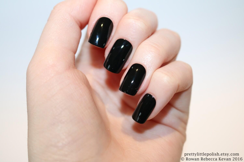 Black short square nails Nail designs Nail art Nails | Etsy