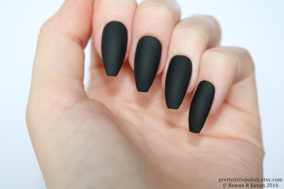 Matte Black Coffin Nails Nail Designs Art