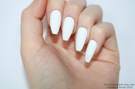 Matte White Coffin Nails Nail Designs Art