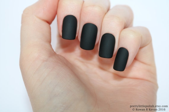 Matte Black Short Square Nails Nail Designs Nail Art Nails Etsy