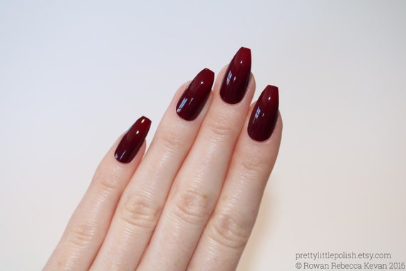 Burgundy Coffin Nails Nail Designs Nail Art Nails Stiletto Etsy