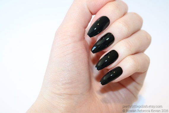 Black Coffin Nails Nail Designs Nail Art Nails Stiletto Etsy