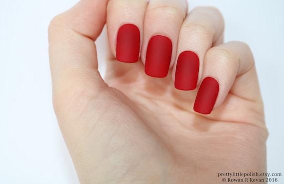 Matte Red Short Square Nails Nail Designs Nail Art Nails Etsy