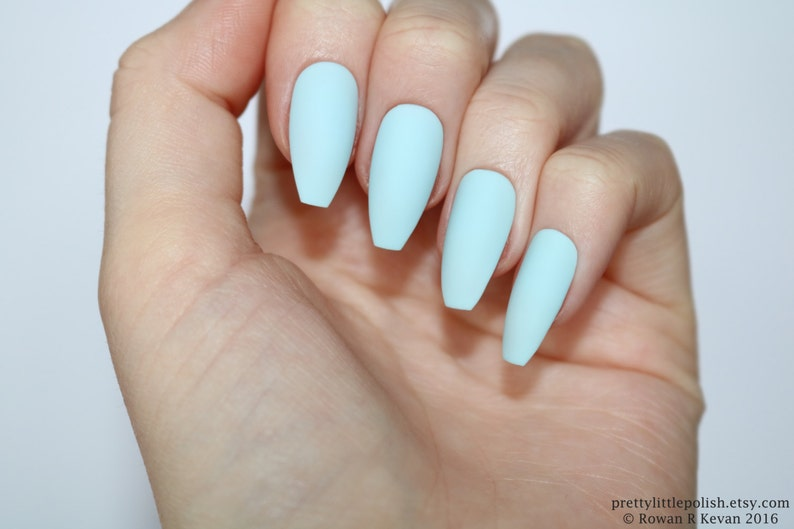 Matte Pastel Blue Coffin Nails Nail Designs Nail Art Nails Etsy