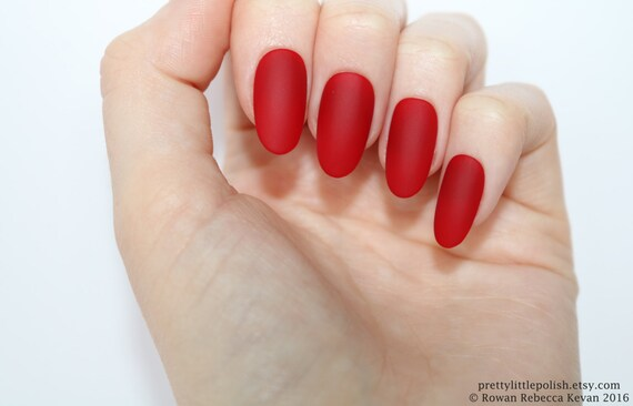 Matte Red Oval Nails Nail Designs Nail Art Nails Stiletto Etsy