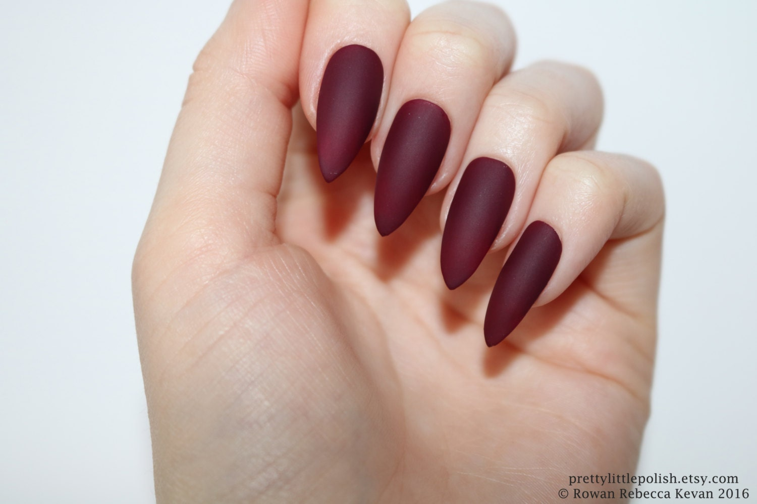 Matte burgundy stiletto nails Halloween nails Fake nail | Etsy