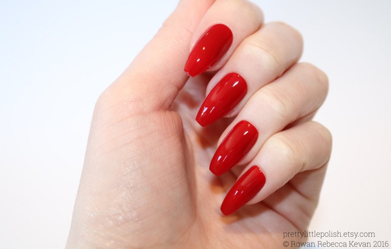 Red Coffin Nails Nail Designs Nail Art Nails Stiletto Etsy