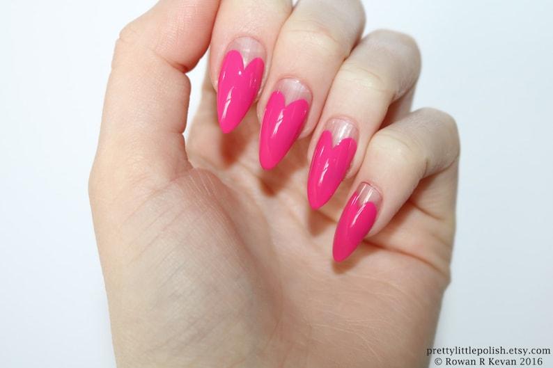 Stiletto Nails Pink Heart Tip Stiletto Nails Fake Nails Etsy