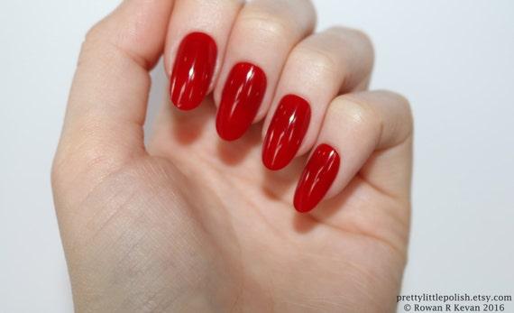 Red Oval Nails Nail Designs Nail Art Nails Stiletto Nails Etsy