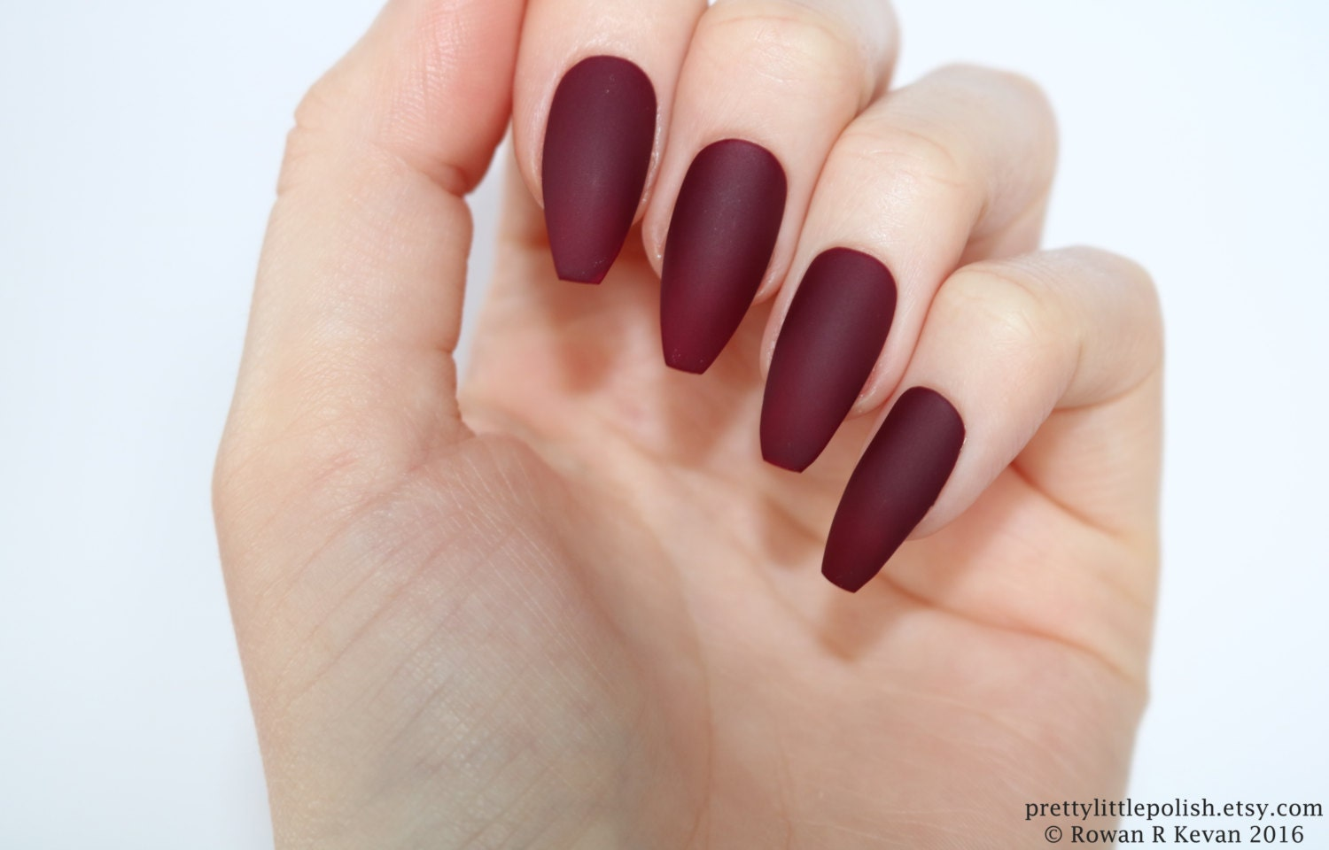 Matte Burgundy Coffin Nails Nail Designs Nail Art Nails Etsy