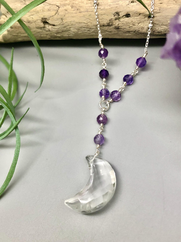 Quartz Moon Necklace I Amethyst Quartz Lariat Necklace I Handmade Gemstone Necklace I Wire Wrapped Necklace I February Birthstone