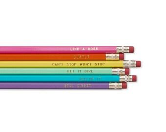 Boss Pencil Set, Like a Boss, Hustle, Can't Stop Won't Stop, Get It Girl, Killin' It, Goal Digger, Colorful Pencils, Gift Pencils